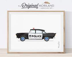 vintage police car print police wall