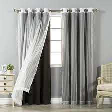 aurora home mix and match blackout and zigzag lace curtain panel scheme of matching shower and