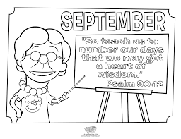 September Coloring Page - Psalm 90:12 - Whats in the Bible