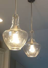 ... Kichler Big Seeded Glass Pendant Light Decoraung Your Modern Living  Room Idea Long Silver Neck Cable