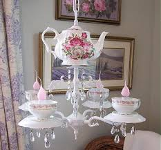 who would think of a teacup chandelier as a way to upcycle old teacups