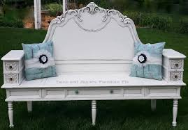 turn a headboard coffee table sewing drawers into a bench