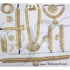 white stone indian bridal grand wedding jewellery set