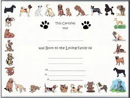 dog birth certificates puppy birth certificate template puppy birth certificate template