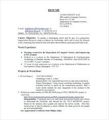 Sample Resume For Computer Science Student Fresher