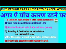 Cancellation Of Tatkal Ticket After Chart Preparation 100 Refund On Tatkal Tickets Cancellation As Per New Rule Coming Soon