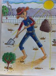 color pencil drawing of a digging hole it reminds me of the book holes finished on 2 15 15 age 11