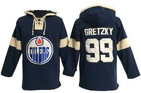 Wayne Time Authentic Gretzky Old Oilers Blue Men's 99 Navy - Jersey Hoodie Pullover Nhl Edmonton Hockey