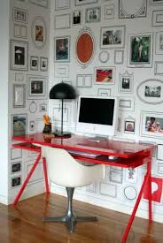 gallery small home office white. Small Home Office With Decorative Framed Gallery Painting Art In The Wall  And Red Desk Gallery Small Home Office White
