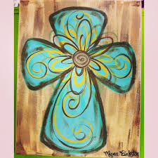 hand painted cross canvas