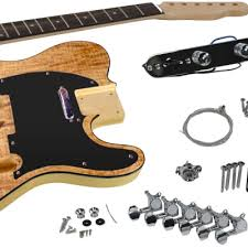 solo tele style diy guitar kit basswood with spalted maple top tck
