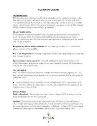 Rolex Marketing Plan