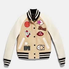 coach natural cotton varsity jacket lyst