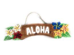 aloha tiki bar sign featuring plumeria flowers hawaiian gifts with aloha
