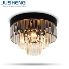 Jusheng Moderne Led Crystal Plafond Verlichting Voor Woonkamer D30cm Transparante Crystal Plafond Lampen E14 Lamp Voor Woondecoratie