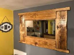 large rustic reclaimed wooden mirror