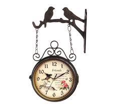 modern retro clock european style 25cm european style iron retro bir double sided silent wall clock vintage large wall hanging decoration pendants glass
