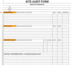 Excellent Sample Of Site Audit Form Template In Excel Format