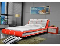 cerchio red and white leather bed jpg