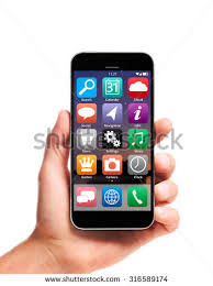 stock photo modern smartphone in hand with interface and apps isolated on white background