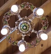 vintage virden ceiling light fixture art nouveau polychrome 5 light chandelier