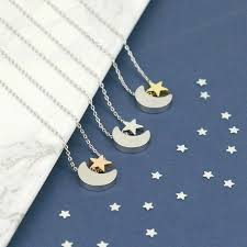 moon and rose gold star necklace