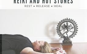 restorative yoga with reiki and hot stones