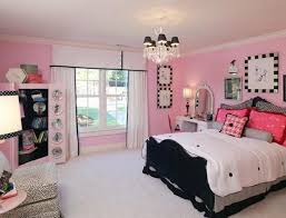 Nice Bedrooms For Girls Modern Chandeliers White Bedroom Curtain Glass  Window Black And Pink Book Shelves Wooden Bed Night Lamps Small Sofa  Pillows Dresser