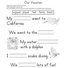 Fill in the Blank WorksheetsOur Vacation Fill-In-The-Blank Reading Worksheet