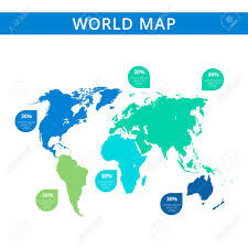 Editable Template Of Detailed World Map With Continents Silhouettes