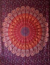 red mandala flower print design twin