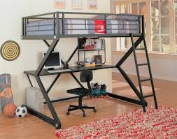 image of metal loft bunk bed with desk