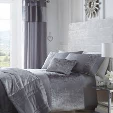 boulevard crushed velvet duvet cover set silver grey