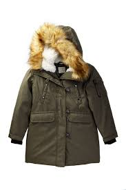 image of s13 faux fur hooded parka big girls