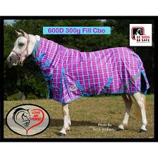 4 6 600d 300g fill mini winter combo horse rug pink check loading zoom