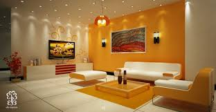 Living Room Yellow Stained Wall Abstract Painting White Sofa Glass Coffee  Table Yellow Sectional Rug Brown Flower Vase Black Sconce Yellow Chandelier  White ...