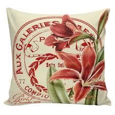 Elliott Heath Designs Christmas Pillow Vintage Holiday Amaryllis French Style