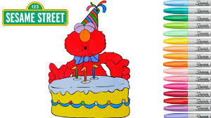 Sesame Street Coloring Book Elmo Colouring Pages Birthday Cake Party