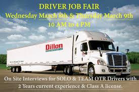 otr driver job fair otr class a drivers dillon transportation llc