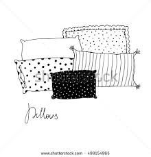 square pillow line drawing. beautiful pillows on a white background. hand drawn vector. square pillow line drawing