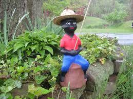black fishing boy concrete pond statue lawn jockey red statuaryyardart