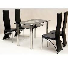 heartlands vegas small glass dining table set 4