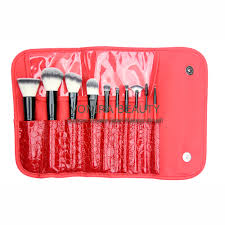 10 piece deluxe synthetic brush set with red designer clutch perfect makeup brush set
