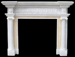 marble columns round tapered fluted ionic cap and tuscan base on a fireplace mantel stone fireplaces