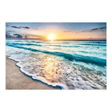 Fensterfolie Sichtschutz Sonnenuntergang Am Strand Fensterbild