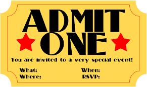 Blank Movie Ticket Invitation Template Admit One Misdesign Co