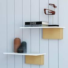 modern set of 2 white floating shelves