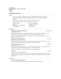 Ideas Of Sample Resume Objectives For Maintenance Mechanic Simple