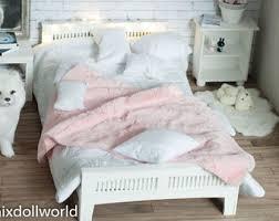 mini doll furniture. Dollhouse Bed, Miniature 1/4, BJD, MSD, Minifee, Mini Doll Furniture