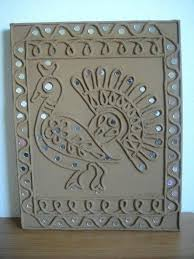 mirror wall decor india paisley art mini canvas folk crafts tribal ceramic walls plaster cast work